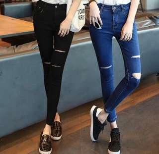 Ripped Jeans denim skinny high waist black blue pants