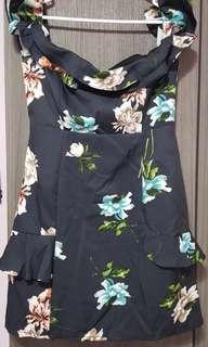 Floral Black Off Shoulder Dress