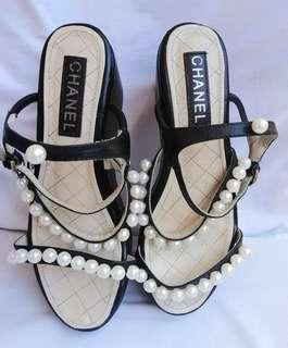 Authentic Chanel Pearl Wedge