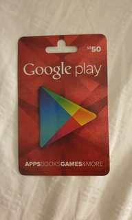 50 dollar Google play gift card