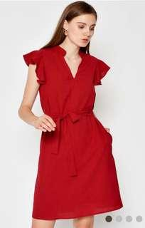 🚚 Love and Bravery Red Ruffle Sleeve Dress with Sash Size L