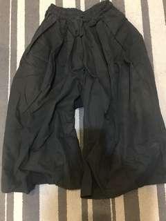 黑色七分寬褲 鬆緊綁帶free size