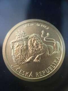 2017 Niue 1/25 oz Gold Czech Lion BU