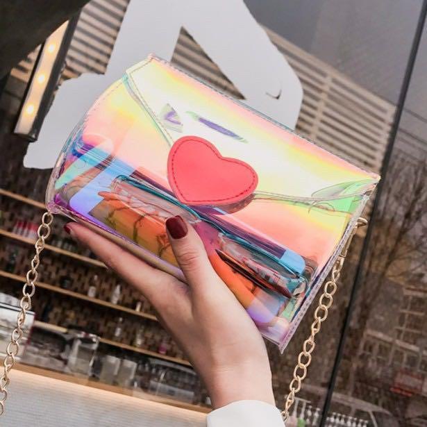 740- Reflective Transparent Sling Bag