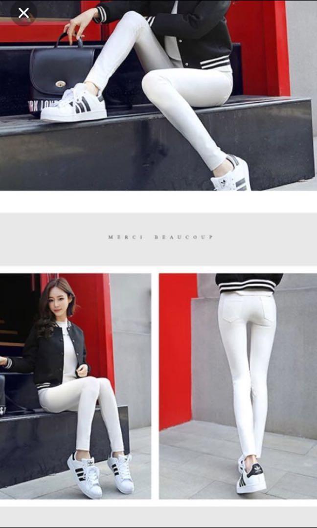 全身白色有彈性長褲