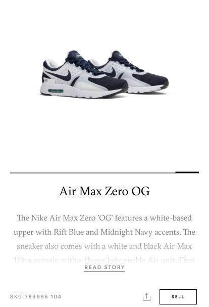 e205fd4159 Air Max Zero QS, Men's Fashion, Footwear, Sneakers on Carousell