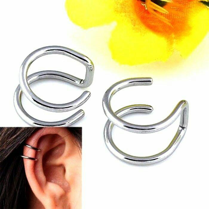 Anting jepit fake piercing silver 1pcs