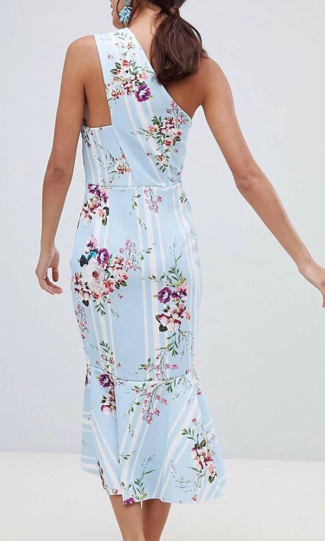 bec7fe3154f ASOS Design One Shoulder Midi Dress in Blue Stripe Floral Print ...