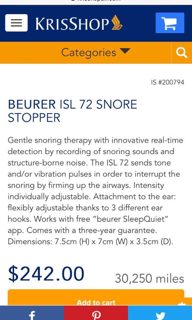 Beurer SL 70 snore stopper #health # wellness #sleep device