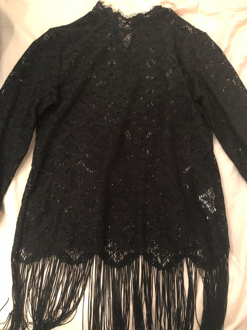 Black lace fringe top