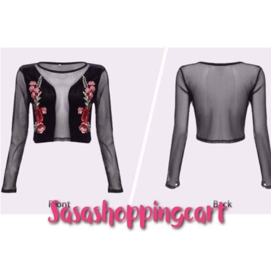 (Black) Rose embroidery net yarn splicing sexy long sleeves T