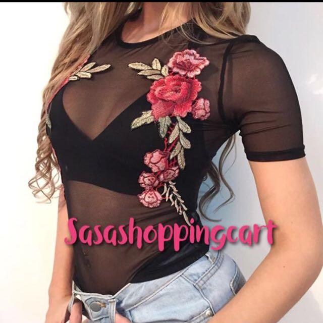(Black) Short Sleeve Round Collar Tight Top Tie Sexy Rose Embroidery Net Shirt