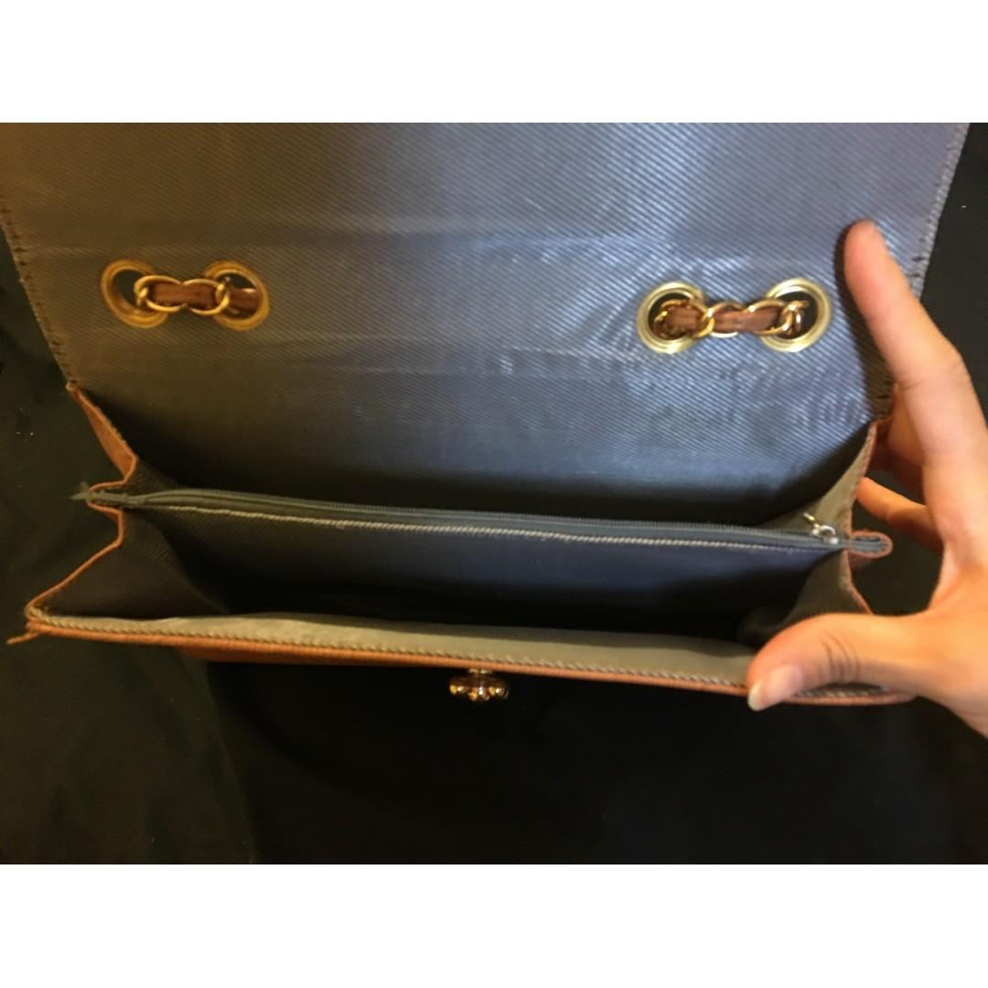 Brown Faux Leather Cross Body Clutch Bag