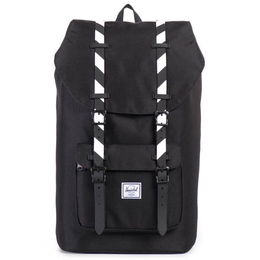 5c0f12822d6 CLEARANCE  Herschel Little America Backpack Black White stripes ...