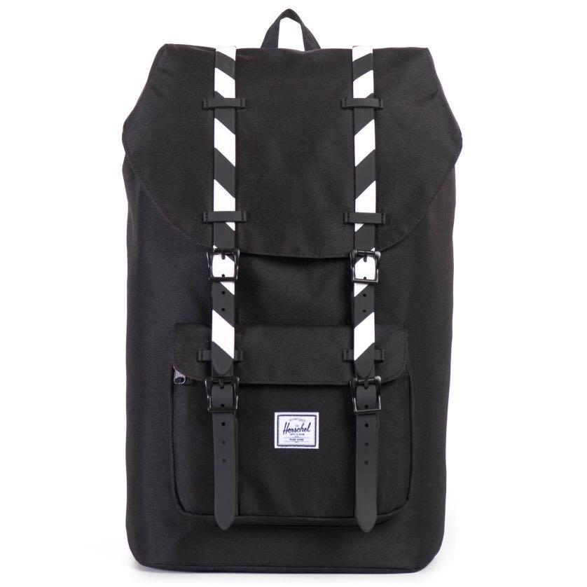edfa1a16405 CLEARANCE  Herschel Little America Backpack Black White stripes ...