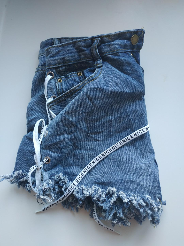 Dark Blue Stressed Denim Shorts