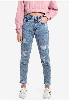 factorie 90s mom jeans in destroyed acid wash
