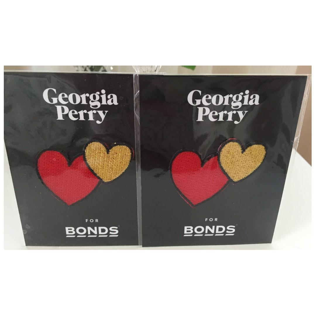 Georgia Perry for Bonds Self Adhesive Patches x2 | Red & Gold Hearts