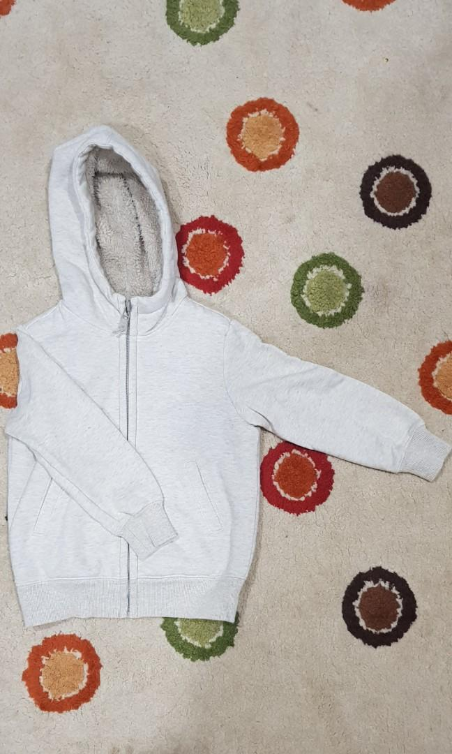 Grey Uniqlo thick warm winter jacket for kids