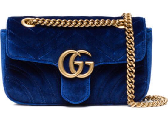 2fd5ddbde65ed0 Gucci marmont velvet blue, Luxury, Bags & Wallets, Handbags on Carousell