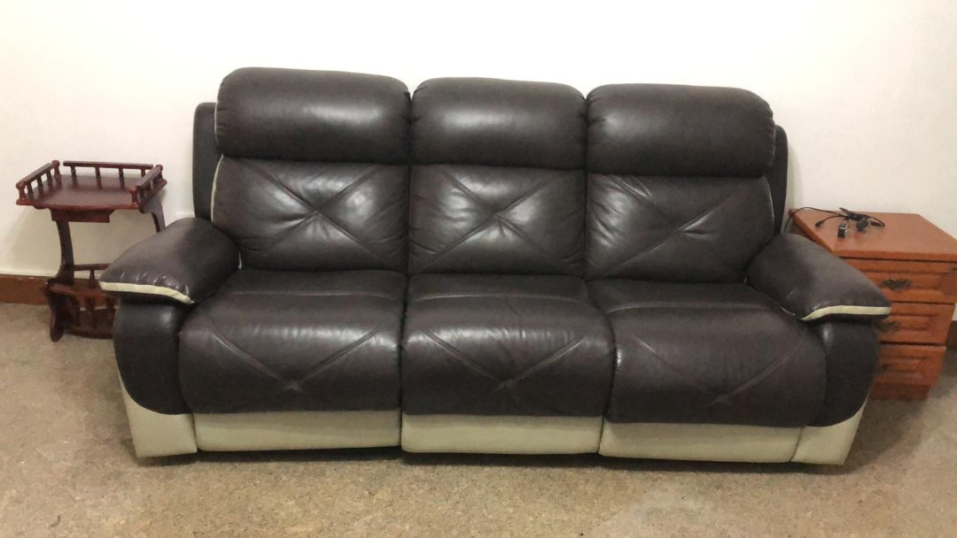 Half Leather Recliner Electric Sofa Furniture Sofas On Carousell
