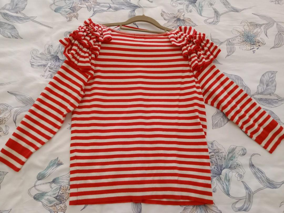 H&M raspberry striped ruffles cardigan. Size s. Great condition.