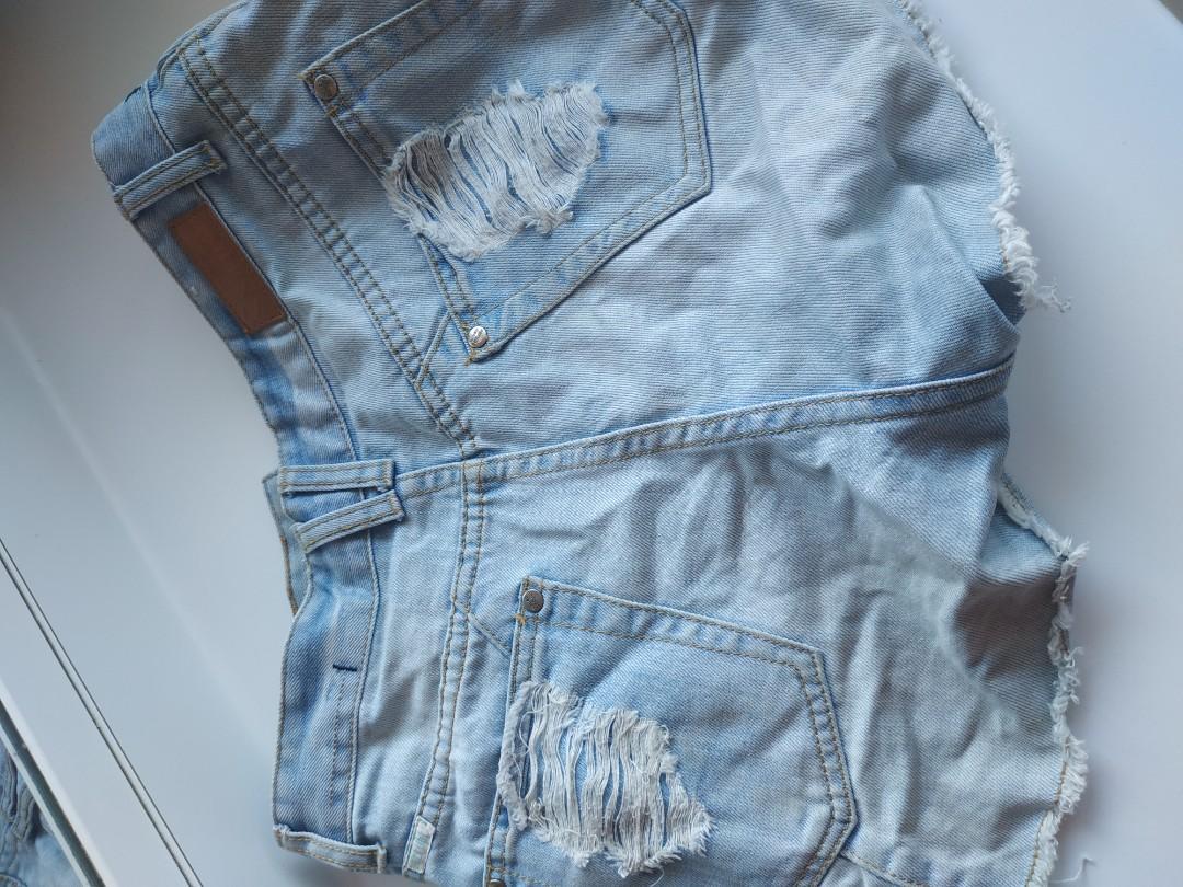 Light Blue Stressed Denim Shorts