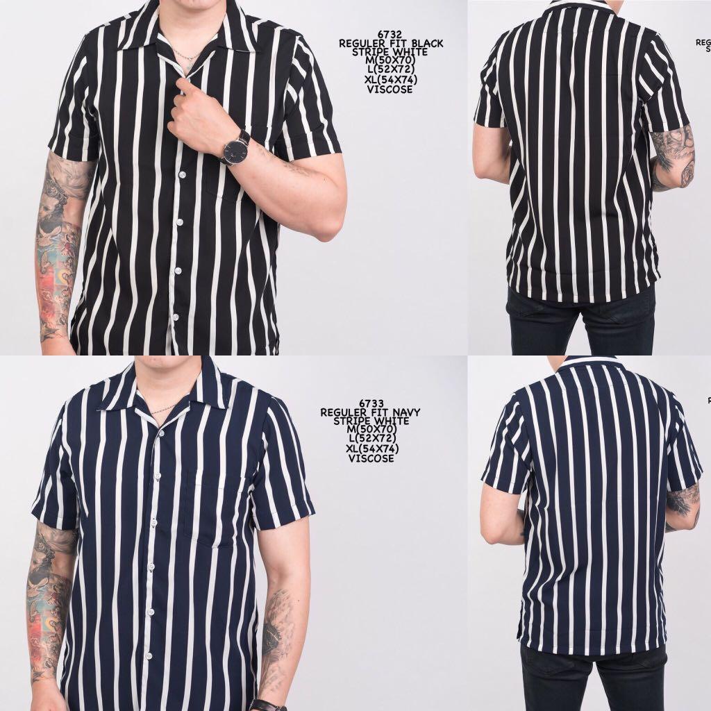 ad56b6d12e4dfd Men Short Sleeve Shirt Stripe Black White, Men's Fashion, Clothes ...