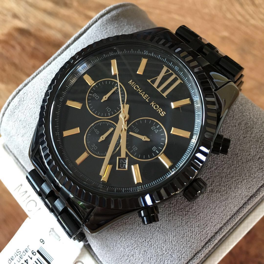 c1ab8287be09 Michael Kors Lexington Black Gold Chronograph Men s Watch