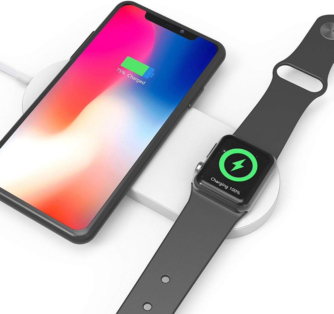 best website 01add 25319 Mini AirPower Wireless Charger, 2 in 1 Fast Dual Charging Pad Compatible  with Apple Watch/iPhone, iWatch Series 3/2, iPhone X, iPhone 8 Plus, iPhone  ...