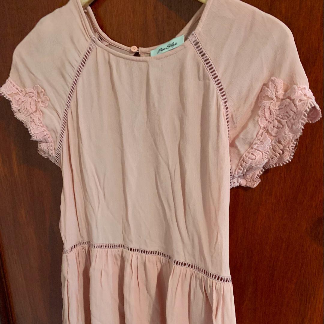 Miss Shop Smock Dress Lace Detail Pink Size 8 (Fits 10)