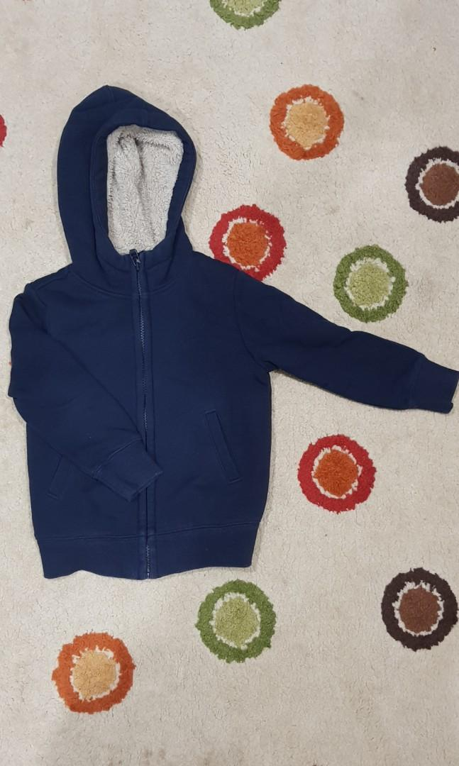 Navy blue Uniqlo thick warm winter jacket for kids