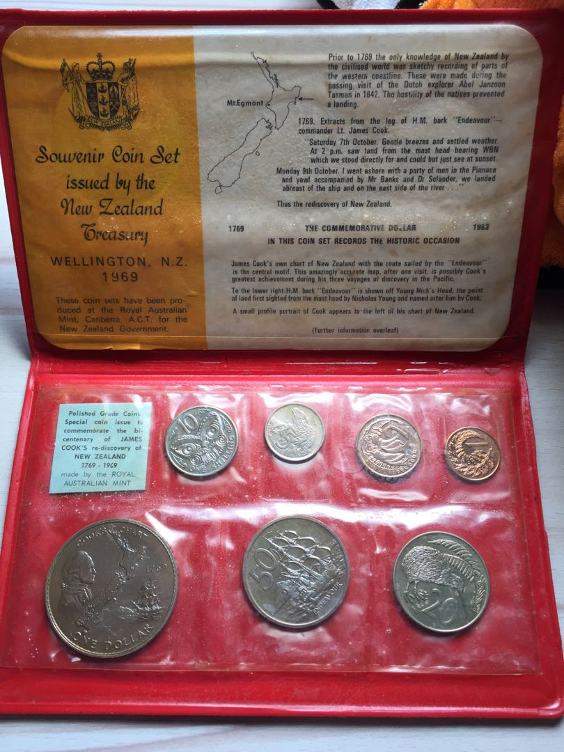 New Zealand 1969 1 cent to $1 UNC coin set