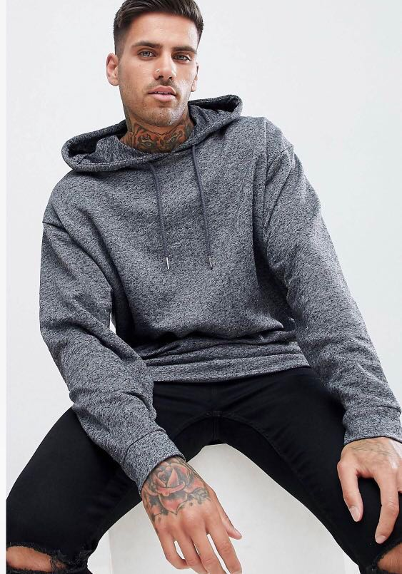 bc775da3 Oversized hoodie in charcoal, Men's Fashion, Clothes, Tops on Carousell