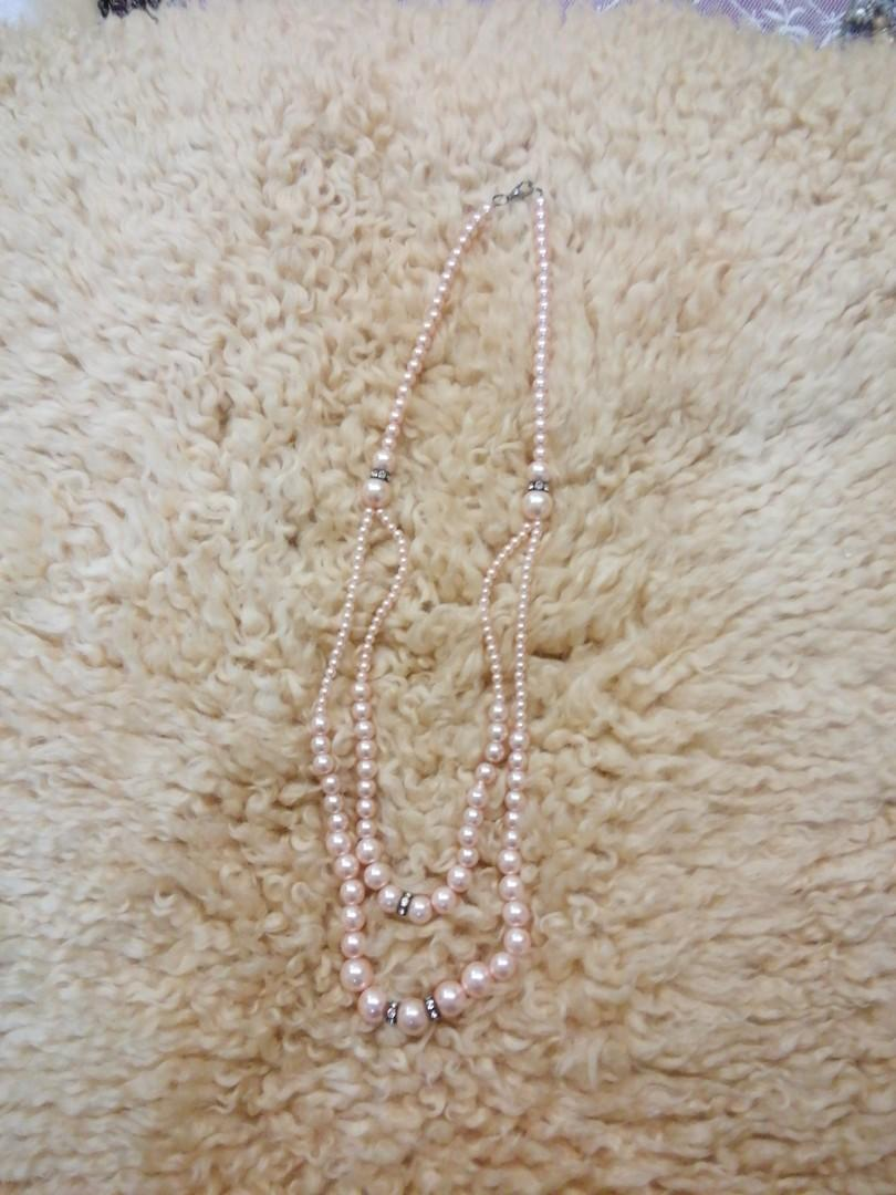 Pearl style long necklace