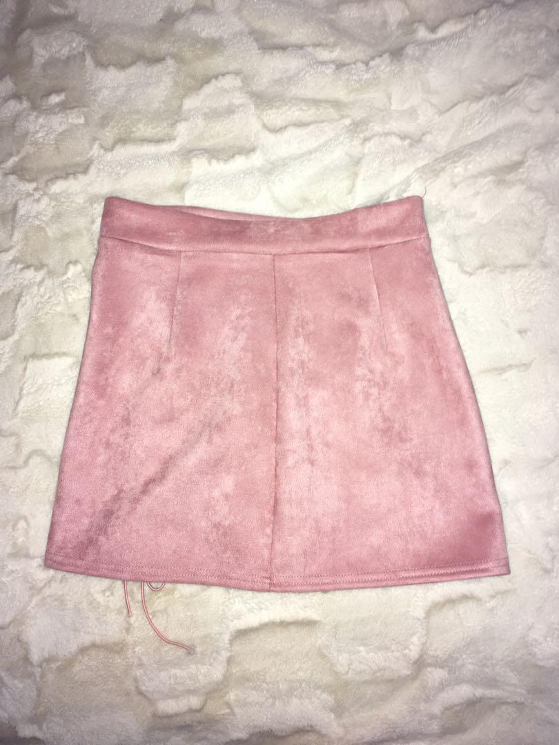 Pink faux saude skirt size 8 , bralette also for sale separately xx