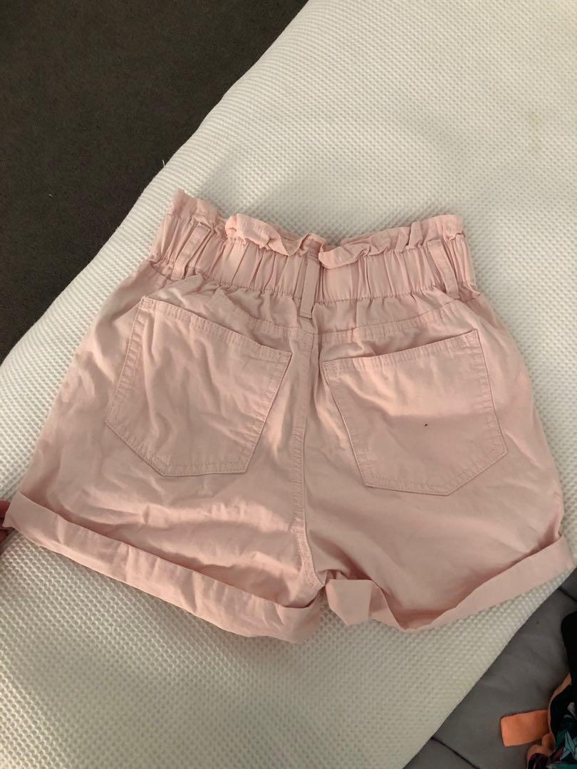 pink paper bag shorts
