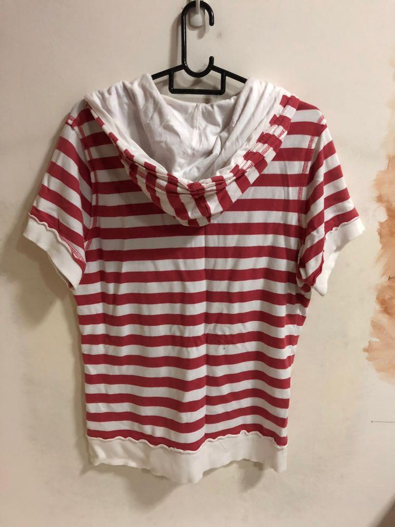 Red and White Striped Fox Short Sleeve Sweater / Jacket / Hoodie