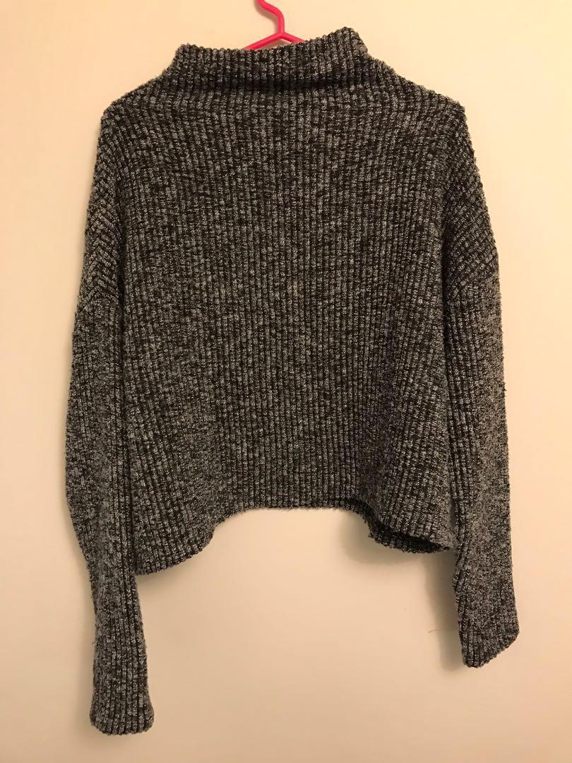 Revolve Bobi Los Angeles black grey turtleneck sweater cropped size s