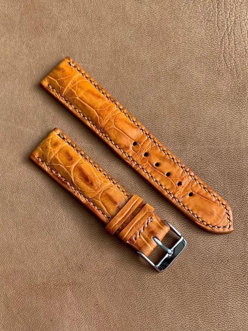 59058c26717 Rich Gold Brown Crocodile Alligator Watch Strap (beautiful ridges ...