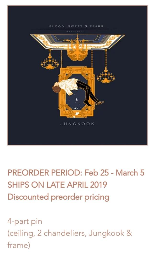 SG(PO) nicubiii BTS Jungkook/V BLOOD SWEAT TEARS enamel Pin