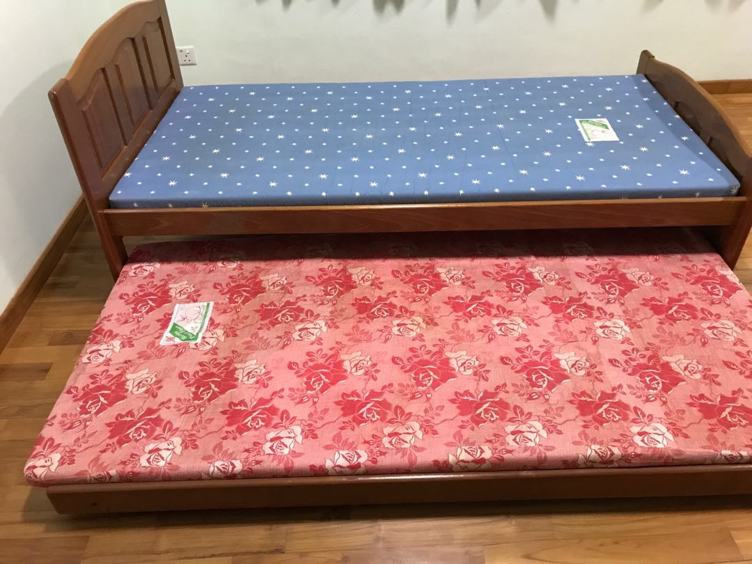 Single Bed Frame With Pull Out Bed Furniture Beds Mattresses On