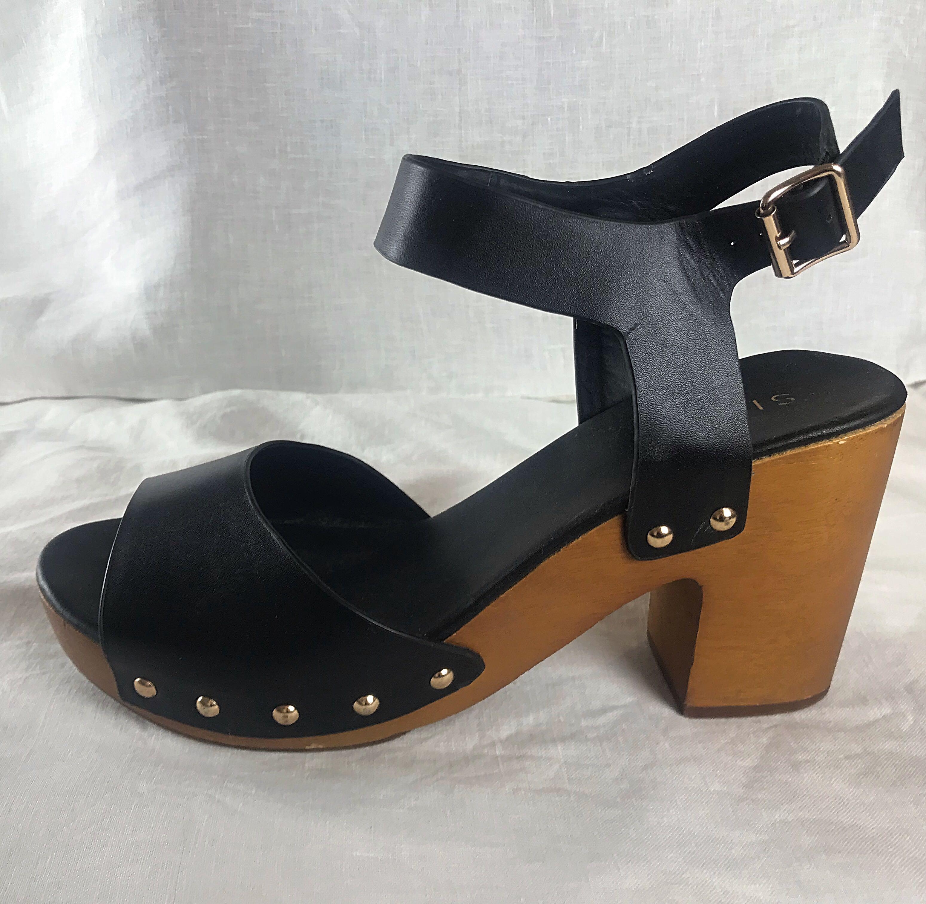 Siren Black Leather Handcrafted Wooden Block Heal Shoes