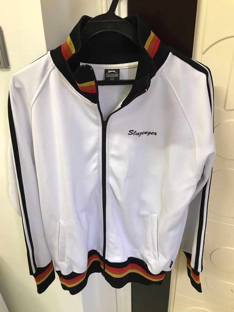 Slazenger 白色黑白間外套 黑黃紅色特別領口設計 秋冬天防風防水 衛衣 風褸款 保暖