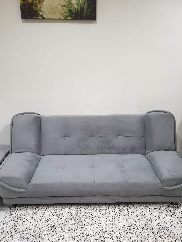 Sofa Bed Suede Abu-Abu (Grey)