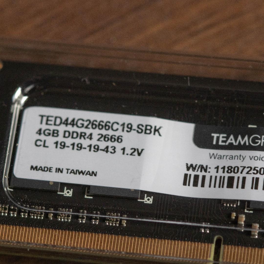 TeamGroup: RAM 4GB DDR4 2666 HZ (laptop)