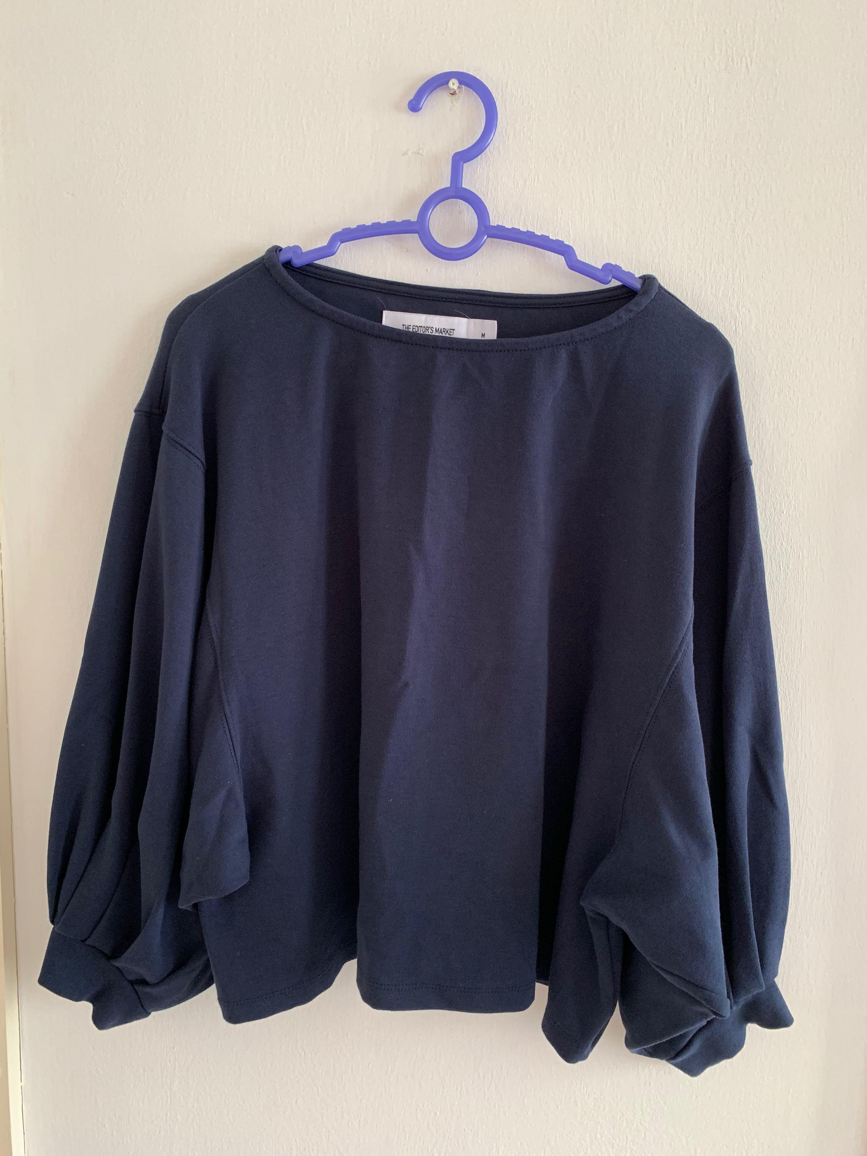 The Editor's Market blue batwing top