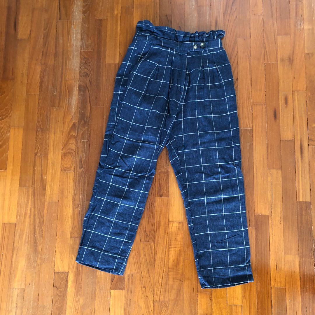 0e6c126702ed TOPSHOP navy blue checkered linen pants