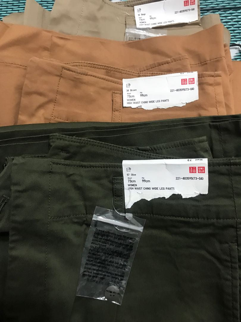 d77ebd36cd UNIQLO - High Waist Chino Wide Pants 3x, Women's Fashion, Clothes, Pants,  Jeans & Shorts on Carousell