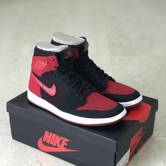 759970d00b7 US8 Air Jordan 1 Flyknit Bred, Men's Fashion, Footwear, Sneakers on ...